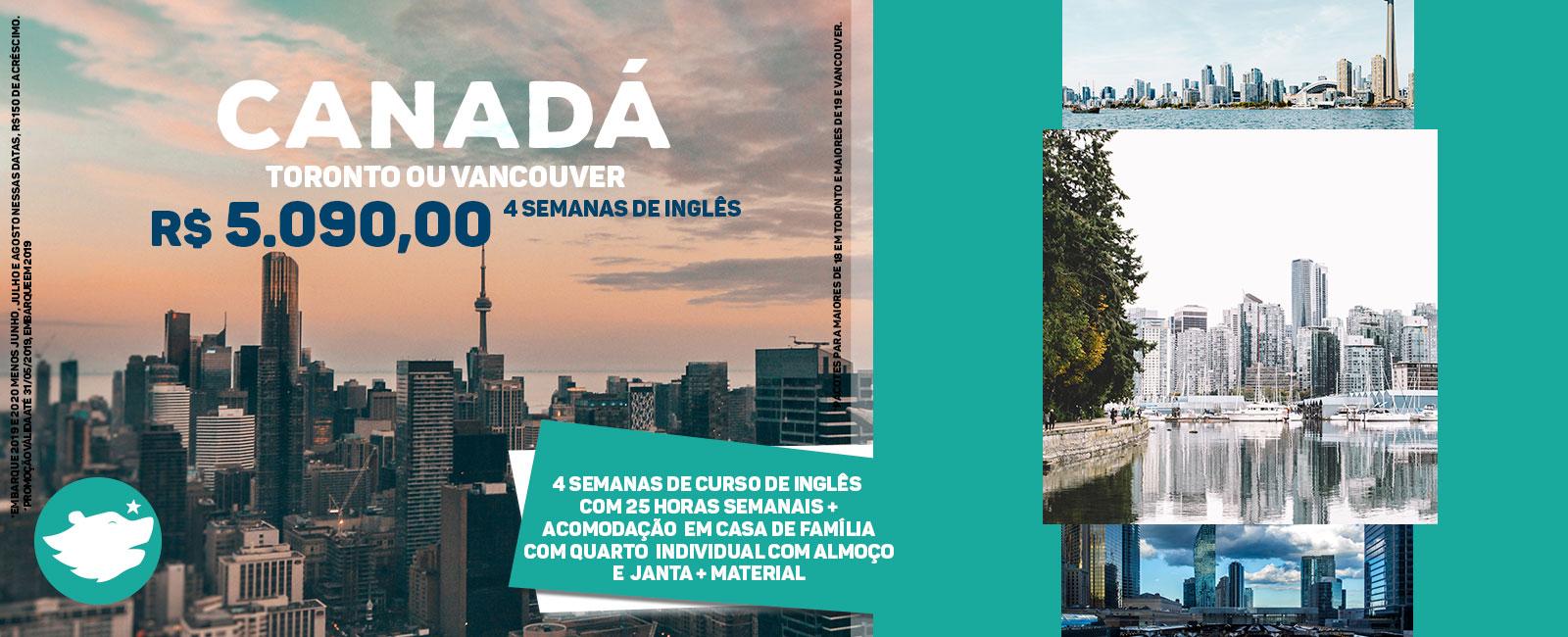 Imagem promocional para estudar no Canadá com algumas fotos de paisagem