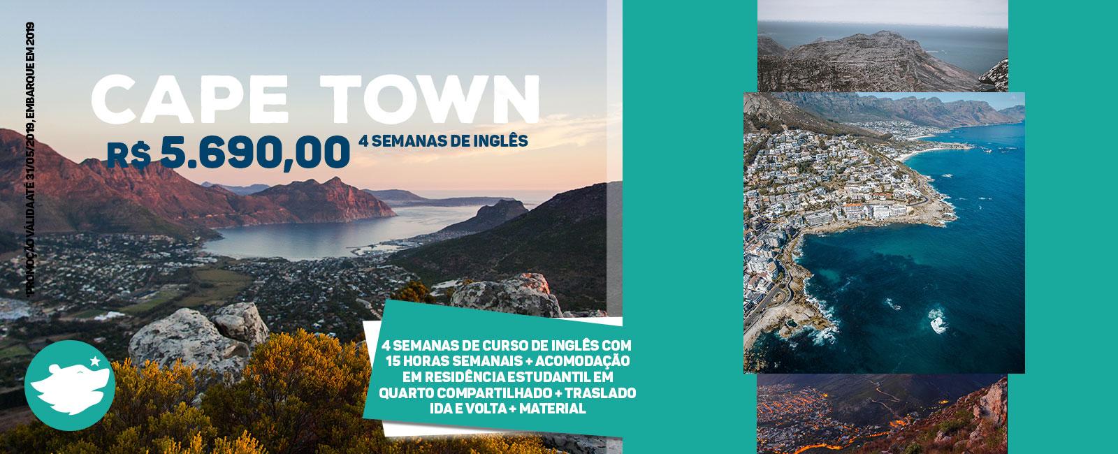 Imagem promocional para estudar em Cape Town com algumas fotos de paisagem